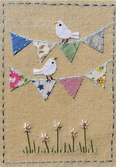 Use wedding bunting colours and Irish wedding verseThese mini quilts look best with TEXTURED fabric, not smooth.Beautiful design Source by takhtyamova Freehand Machine Embroidery, Free Motion Embroidery, Embroidery Applique, Embroidery Stitches, Embroidery Designs, Wedding Embroidery, Fabric Cards, Fabric Postcards, Diy Broderie
