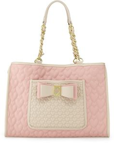 betsey johnson white heart bag pics | Betsey Johnson Twotone Quilted Heart Tote Bag Blush in Pink (null ...