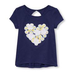Toddler Girls Short Sleeve Embellished Graphic Keyhole-Back Top