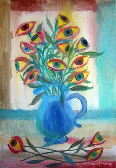 flores ojos. Painting of the Serie Still Life for sale by artist Diego Manuel. Cuadro en venta de la Serie Naturaleza Muerta