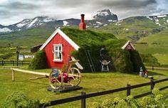 Sod Roof House, Borgarfjordur #red #green #iceland