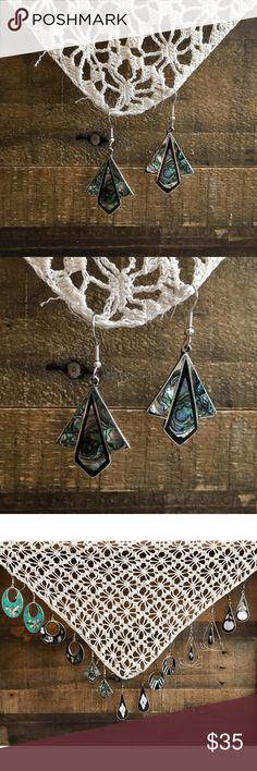 '80s / Abalone Paper Airplane Earrings Alpaca Mexico silver paper airplane shape dangle earrings with abalone inlay. These currently have a nice patina, but will polish on request! *Earrings in last photo also for sale!  ⁂ Great bundle item! Two items = 20% off ☒ I do not model or trade, sorry! ❁ Check out my closet for more vintage! Vintage Jewelry Earrings 80s Earrings, Dangle Earrings, Vintage Silver, Vintage Jewelry, Silver Paper, Vintage Ladies, Dangles, Mexico, Polish