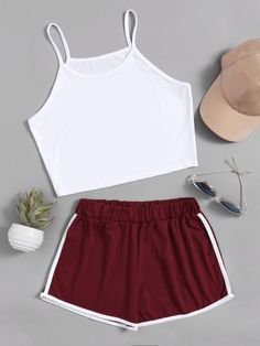 37218709e40f Crop Cami Top With Contrast Trim ShortsFor Women-romwe Shorts Online, Cami  Crop Top