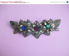 Vintage Gold Tone & Multi Color Wreath Brooch M10 by MICSJWL, $20.00