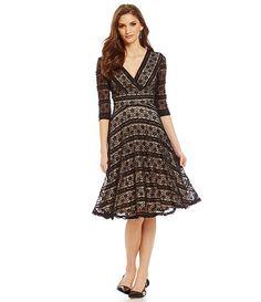 Sangria Illusion Surplice Midi Lace Dress