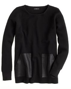 Leather Detail Sweaters: J.Crew Merino Leather-Pocket Sweater