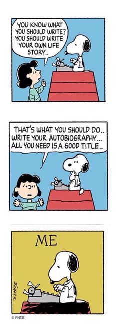 Lucy giving Snoopy an idea for his next book