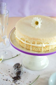 Lavender chiffon cake with lime curd, cream and lime icing