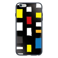 Available in Red, White, and Dark Blue. Give your phone a taste of the 60s. Mosaic look is very retro and funky. Colorful tile look as a cute phone case. iPhone 6/6s case with Mondrian style sixties chic design.