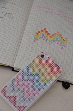 chevron cross stitch iphone case by lisa solomon