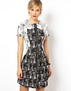 ASOS Check Zip Front T-shirt Dress
