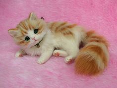 Needle Felted Cute Fluffy Kitten Orange by LilyNeedleFelting