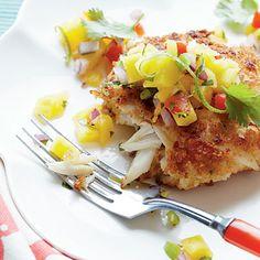 Crispy Crab Cakes with Mango-Pineapple Salsa | Coastalliving.com