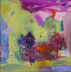 Galerie Bonnard | Jan van Diemen schildert graag sporten waar de mens in natuur verkeert. De sporter is herkenbaar, maar land en lucht worden geabstraheerd. Wil je meer werk van van Diemen zien? Klik op de afbeelding.