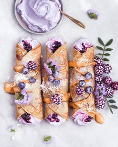 Vanilla Dream Crepes with Berry Coconut Cream Filling. These look AMAZING and apparently they're vegan and gluten free! I'm personally not vegan but that won't stop me from sampling these!! The creator also has a pretty awesome looking insta with this delight and many others! @vanelja and also http://www.vanelja.com