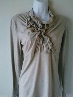 CABI SZ M TOP Heathered Oatmeal Beige Cotton Jersey Jaunt Tee LS Style 655 Shirt #CAbi #KnitTop #Casual