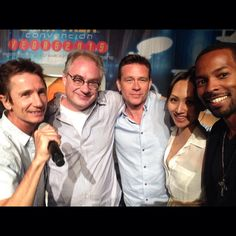Enterprise crew - Dominic Keating, John Billingsley, Connor Trinneer, Linda Park, Anthony Montgomery.  Star Trek Las Vegas 2015 - selfie from Anthony's Facebook page