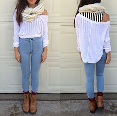 Fall outfit: high waisted jeans, #combatboots, scarf, flowy top.