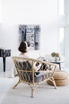 lisbet e. Living Room Grey, Living Room Chairs, Living Room Decor, Natural Furniture, Bamboo Furniture, Ikea Armchair, Ikea Chairs, Warm Bedroom, Beach Cottage Style