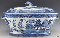 Antique English Traditional Blue & White Canton Style Soup Tureen 1830's-50's