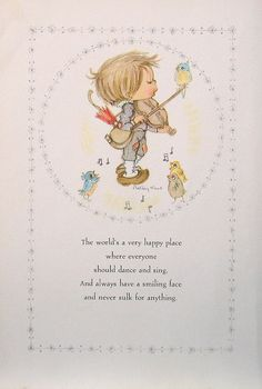 "Betsey Clark Precious Moments - ""The World's A Very Happy Place"" - 1972 Vintage Book Page"