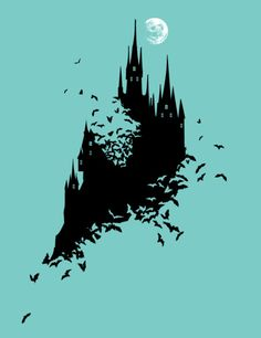 Flying Mouse 365 Tee Design - Week 52 - by Chow Hon Lam, via Behance The only thing is I would prefer to have the Castle white while the tee black. Vampire Castle, Dracula Castle, Burg Tattoo, Dracula Tattoo, Castlevania, Castle Silhouette, Dark Castle, Gothic Castle, Castle Tattoo