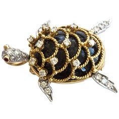 Hammerman Brothers Onyx Diamond Gold Turtle Brooch/Pendant | From a unique collection of vintage brooches at https://www.1stdibs.com/jewelry/brooches/brooches/