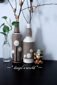 Different colors/pattern for neat Halloween decor. Burlap and yarn wrapped bottles.