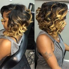 Curly long bob hairstyles with blonde highlights