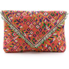 Star Mela Erma Clutch ($120) ❤ liked on Polyvore featuring bags, handbags, clutches, multi, fringe purse, beaded handbags, fringe clutches, multi color purse and beaded purse