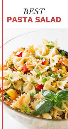 This rainbow vegetable pasta salad is colorful, light and flavorful bowl of summer! Perfect side dish for any bbq dinner. #salad #saladrecipes #pastasalad Tortellini Recipes, Yummy Pasta Recipes, Healthy Eating Recipes, Delicious Meals, Party Recipes, Vegetable Pasta Salads, Best Pasta Salad, Homemade Pasta, Kitchen Recipes