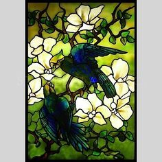 Parrots and Blossoms stained glass for your bathroom.