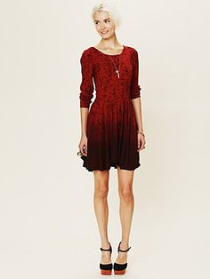 Print Dip Dye Fit and Flare Dress