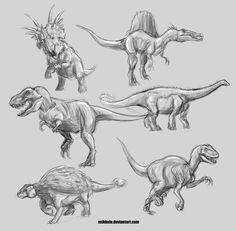 dinosaur sketches for a boys room by Xeikkeiu