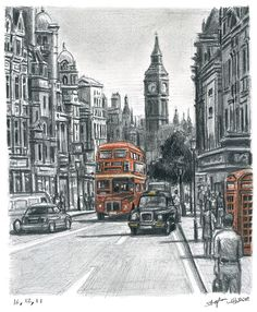 Whitehall in summer (Limited Edition of 75) - drawings and paintings by Stephen Wiltshire MBE