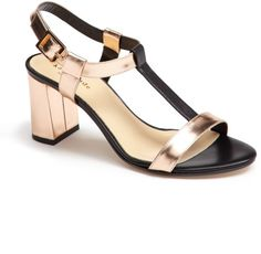 Kate Spade New York Rose Gold and Black Aisha Sandal - Sale
