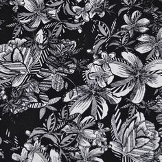 Tropical Floral Rayon Crepe Black/White - Fabric - Style Maker Fabrics