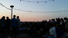 Berlin rooftop bar klunkerkranich sunset