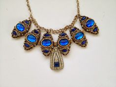 """Blue Peacock Statement Necklace- Heirloom Collection  Etsy Shop :""""Bean and the Sprout""""!"""