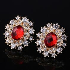 Fashion flower earring, with rhinestone, more colors for choice.