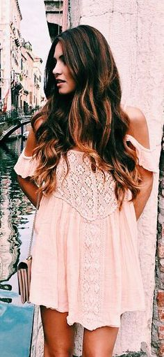off-the-shoulders blush dress