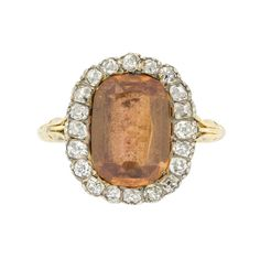 A Georgian topaz and diamond cluster ring
