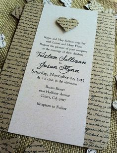 Library book wedding invitation set book wedding invitations rustic wedding invitation lyrical love collection song lyrics vintage heart custom recycled eco friendly stopboris Gallery