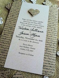 RUSTIC Wedding Invitation - Lyrical Love Collection - Song Lyrics - VINTAGE…