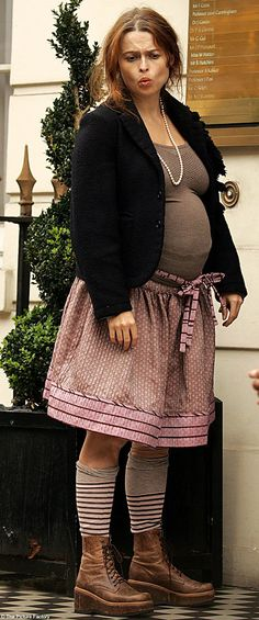 Helena Bonham Carter sees no reason not to dress in her usual style, just because she's pregnant. That's #bumpychic