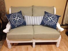 Old Wood Couch Makeover Using Chalk Paint After Pic