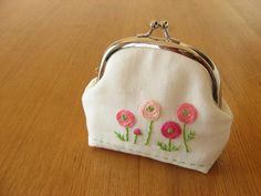 In place of lunéville embroidery, I've been busy working on these for my shop-- There's been a number of requests for snap frame pouches with the embroidery motifs from my pincushions. These pouches are just big. Embroidery Purse, Embroidery Flowers Pattern, Embroidery Motifs, Hand Embroidery Designs, Embroidery Ideas, Coin Purse Pattern, Cute Coin Purse, Purse Patterns, Crochet Pouch