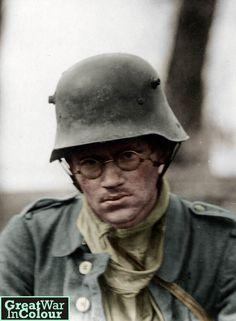 A German prisoner of war captured by the British on the Menin Road -Ypres…