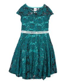 Loving this Emerald Green Lace Rhinestone Belted A-Line Dress - Girls on #zulily! #zulilyfinds