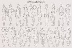 20 Realistic Female Body Poses Stamps for Procreate, Procreate Stamp Brushes, Procreate Brushes, Procreate Stamps